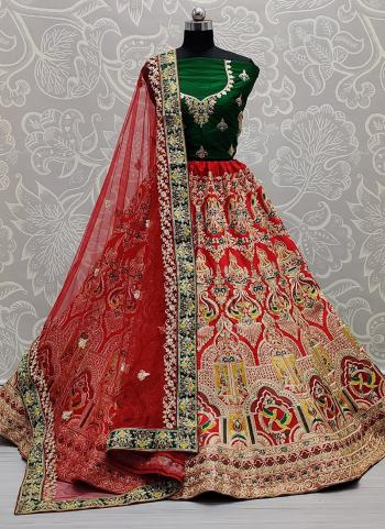 Bridal Wear Red Multi Work Silk Lehenga Choli
