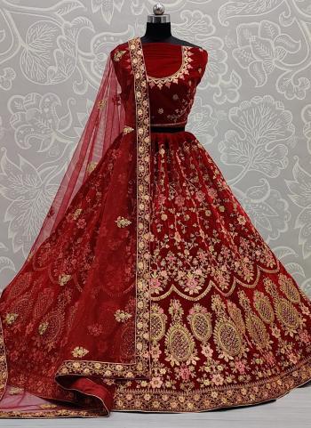 Wedding Wear Maroon Thread Work Velvet Lehenga Choli
