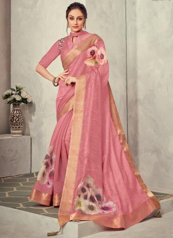 Reception Wear Pink Thread Work Tissue Silk Saree