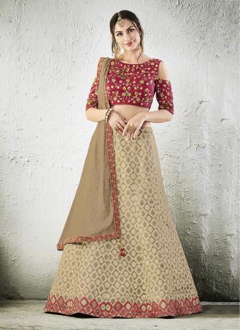 Bridal Wear Cream Jacqaurd Zari Embroidery Work Lehenga Choli
