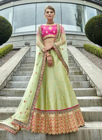 Bridal Wear Sea Green Jacqaurd Heavy Embroidery Work Lehenga Choli