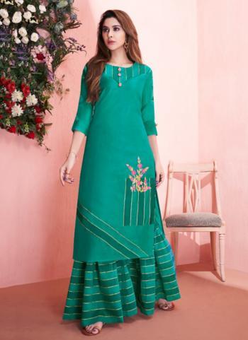Casual Wear Green Modal Silk Embroidery Work Kurti With Sharara