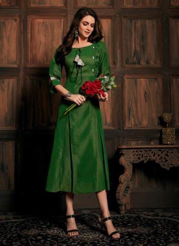 Casual Wear Green Silk Thai Kurti