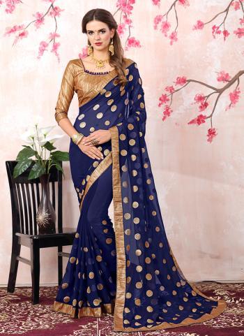 Casual Wear Navy Blue Georgette Zari Work Saree