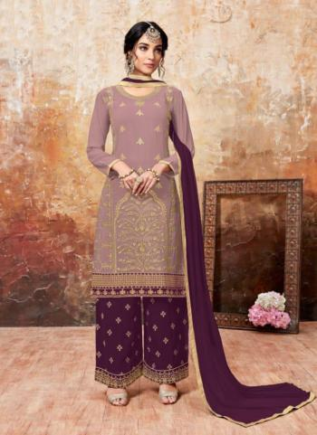 Casual Wear Wine Faux Georgette Embroidery Work Palazzo Style