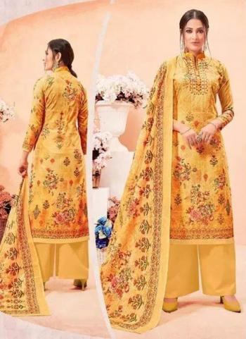 Casual Wear Yellow Cotton Digital Print Palazzo Suit