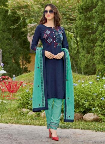 Daily Wear Navy Blue Cotton Embroidery Work Churidar Suit