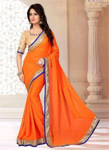 Daily Wear Orange Georgette Lace Border Work Saree