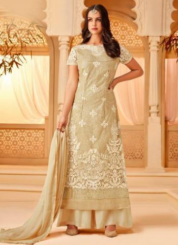 Festival Wear Beige Net Embroidery Work Palazzo Suit