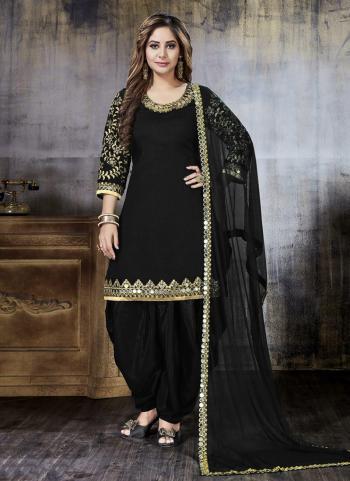 Festival Wear Black Art Silk Mirror Work Patiala Style
