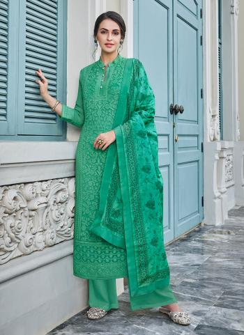 Festival Wear Green Georgette Embroidery Work Palazzo Suit