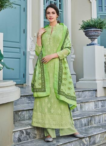 Festival Wear Light Green Georgette Embroidery Work Palazzo Suit