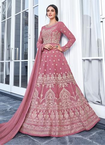 Festival Wear Pink Georgette Embroidery Work Anarkali Suit