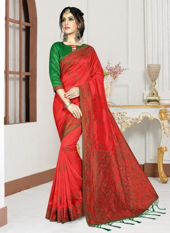 Festival Wear Red Silk Resham Work Saree