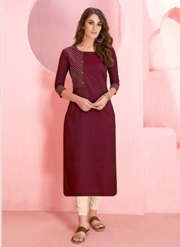 Office Wear Purple Rayon Two Tone Kurti