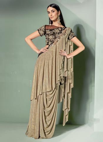 Party Wear Beige Lycra Embroidery Work Ready to wear saree