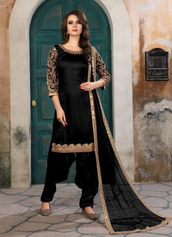 Party Wear Black Art Silk Heavy Embroidery Work Patiala Style