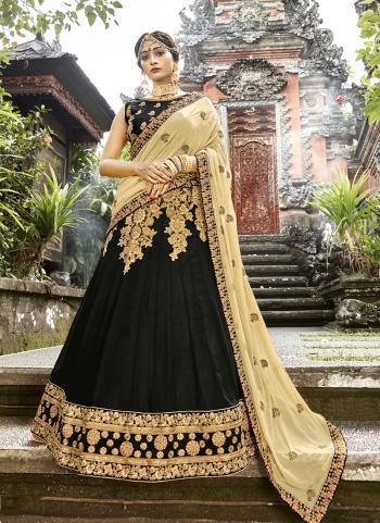 Party Wear Black Georgette Embroidery Work Lehenga Choli