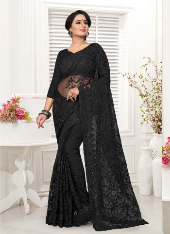Party Wear Black Net Resham Work Saree