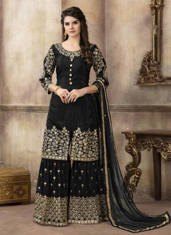 Party Wear Black Upada Silk Heavy Embroidery Work Sharar Suit