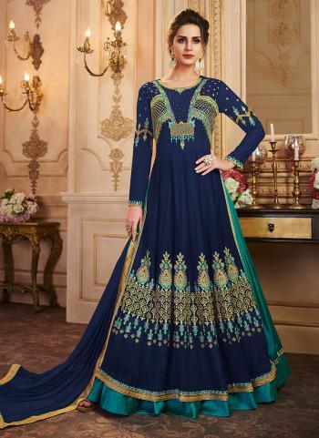 Party Wear Blue Georgette Embroidery Work Anarkali Suit