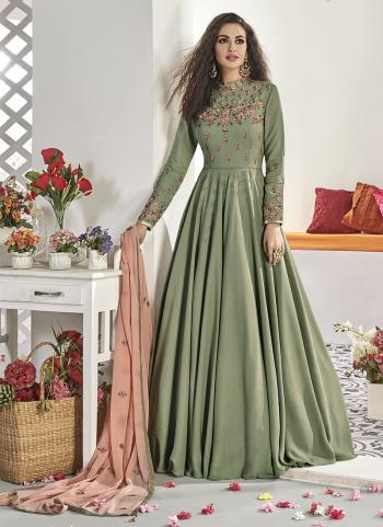 Party Wear Green Silk Embroidery Work Gown