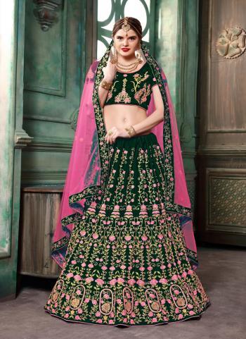 Party Wear Green Silk Sequins Work Lehenga Choli