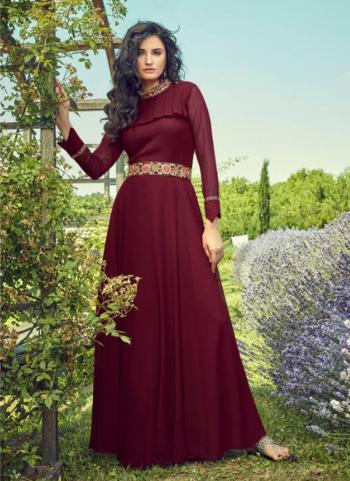 Party Wear Maroon Georgette Embroidery Work Gown