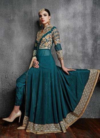 Party Wear Morpich Faux Georgette Embroidery Work Anarkali Suit