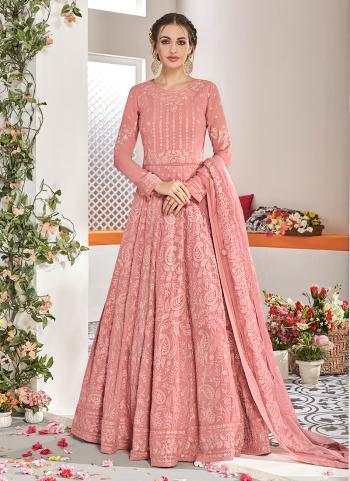 Party Wear Pink Georgette Embroidery Work Anarkali Suit