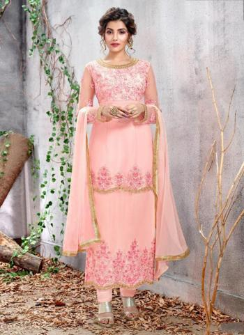 Party Wear Pink Net Embroidery Work Churidar Suit