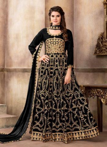 Reception Wear Black Art Silk Heavy Embroidery Work Anarkali Style