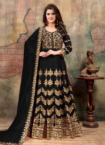 Reception Wear Black Faux Georgette Heavy Embroidery Work Anarkali Style