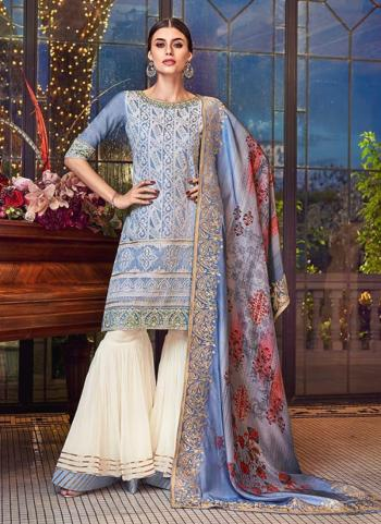 Reception Wear Blue Silk Embroidery Work Sharara Suit
