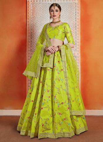 Reception Wear Green Art Silk Sequins Work Lehenga Choli