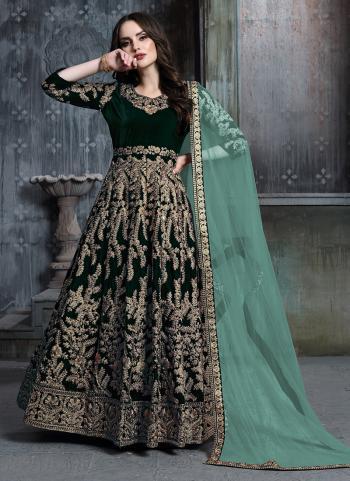 Reception Wear Green Velvet Embroidery Work Anarkali Suit