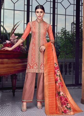 Reception Wear Orange Silk Embroidery Work Salwar Suit