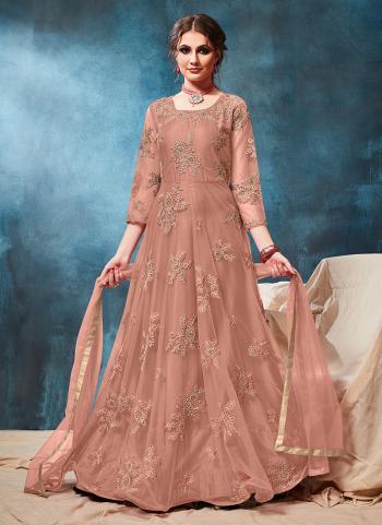 Reception Wear Pink Net Embroidery Work Anarkali Suit