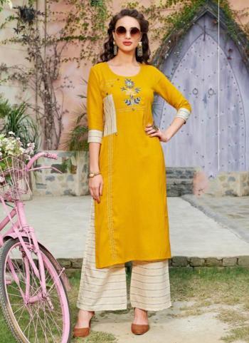 Regular Wear Yellow Rayon Embroidery Work Kurti With Palazzo