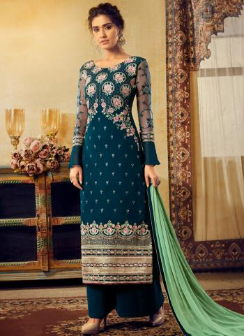 Traditional Wear Blue Georgette Embroidery Work Palazzo Suit