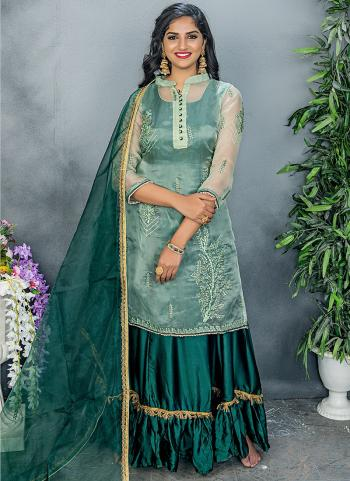 Traditional Wear Green Organza Embroidery Work Salwar Suit