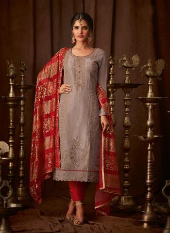 Traditional Wear Purple Silk Embroidery Work Churidar Suit