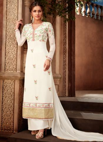 Traditional Wear White Georgette Embroidery Work Palazzo Suit