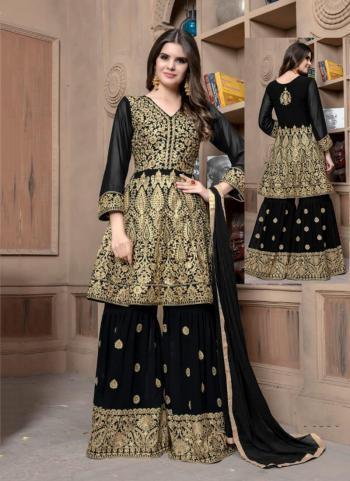 Wedding Wear Black Faux Georgette Embroidery Work Sharara Style