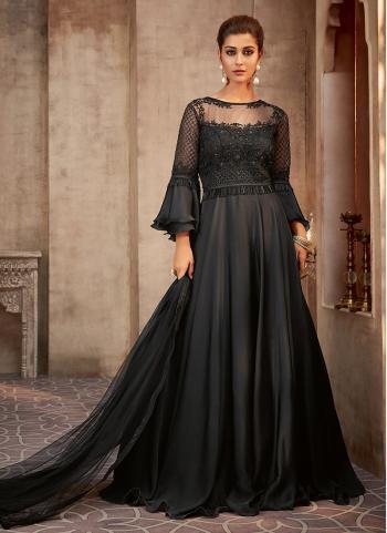 Wedding Wear Black Georgette Silk Embroidery Work Anarkali Suit