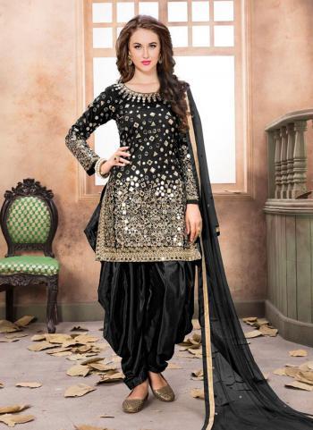 Wedding Wear Black Tapeta Silk Mirror Work Patiala Suit