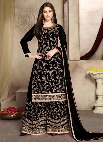 Wedding Wear Black Viscose Embroidery Work Palazzo Suit