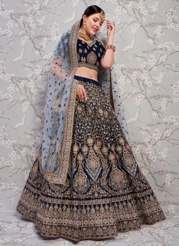 Wedding Wear Blue Satin Thread Work Lehenga Choli