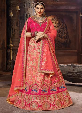 Wedding Wear Gajri Silk Embroidery Work Lehenga Choli