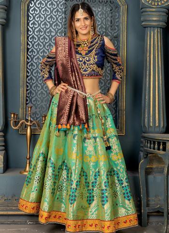 Wedding Wear Green Silk Resham Work Lehenga Choli